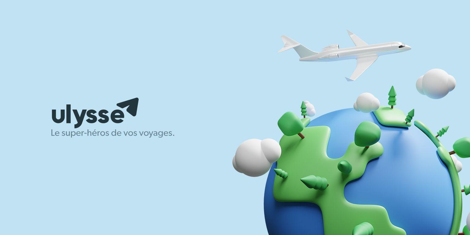 Logotype Ulysse avec une illustration 3D représentant un avion et un globe terrestre